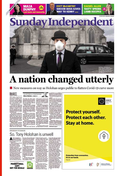 Voorpagina van de Sunday Independent (5 april 2020).
